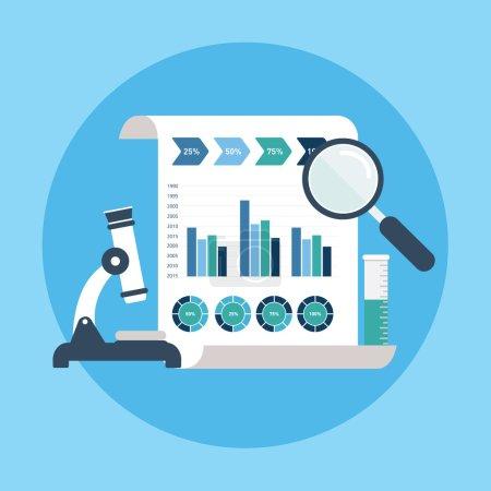 Flat design modern vector illustration of market research. SEO optimization,web analytics, programming process elements
