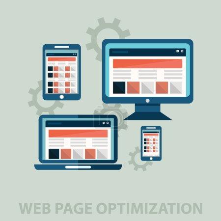 Illustration for Web page optimization .web design development side vector displays - Royalty Free Image