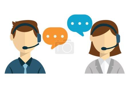 Ilustración de Haga clic en cliente cuidado servicio concepto conjunto de iconos planas de contacto nos ayuda ayudar a llamada de teléfono de escritorio y web para infografía diseño web elementos vector ilustración - Imagen libre de derechos