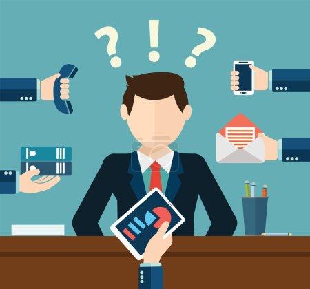 Illustration pour Homme d'affaires très occupé travaillant dur sur son bureau avec beaucoup de paperasserie,. Concept commercial sur le travail acharné. Multitâche - image libre de droit