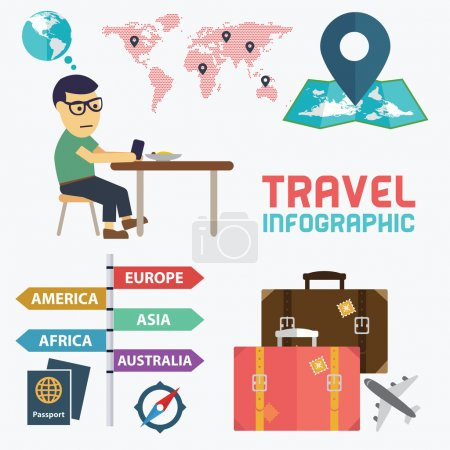 Illustration for Vector illustration of travel infographic with thoughtful man planning vacation - Royalty Free Image