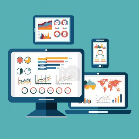 Illustration for Flat design modern vector illustration concept of website analytics search information and computing data analysis using modern electronic and mobile devices. Isolated on stylish background. - Royalty Free Image