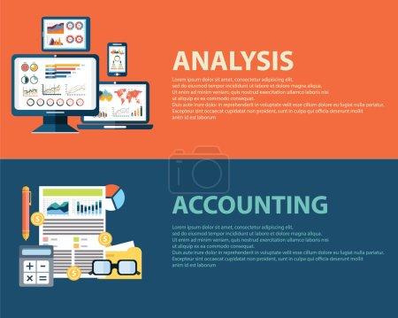 Illustration pour Analyse d'entreprise de style plat concept infographique et finance comptable. Modèles de bannières Web - image libre de droit