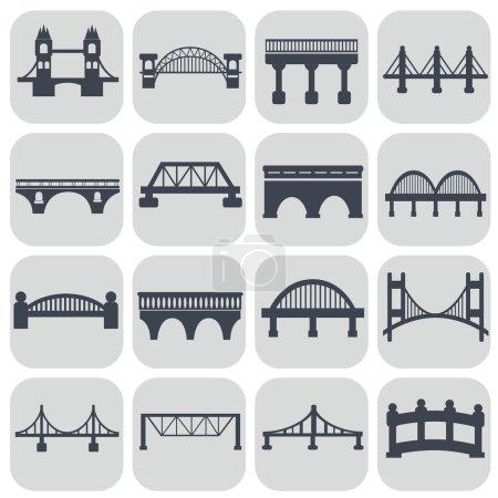 Isolated bridges icons set