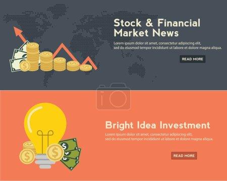 Photo pour Concepts de design plat pour les entreprises, la finance, les nouvelles boursières et financières, le conseil, le m-banking, l'investissement en ligne, le crowdfunding. Concepts pour les bannières web et le matériel promotionnel - image libre de droit