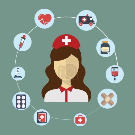 Illustration for Doctor, nurse concept flat icons set , hospital Doctor, nurse jobs for infographics design web elements vector illustration. - Royalty Free Image