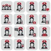 Nurses icons on grey