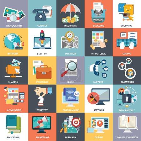 Photo pour Collection vectorielle abstraite d'icônes colorées d'affaires plates et de finance. Eléments de conception pour applications mobiles et web . - image libre de droit