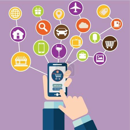 Illustration pour Ensemble d'icônes de design plat modernes pour le commerce mobile ou smartphone. Achats mobiles en ligne et sur le pouce acheter des icônes - image libre de droit