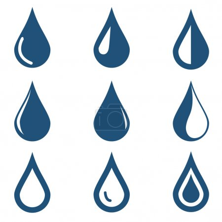 water drop icons set
