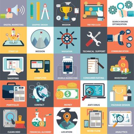 Illustration pour Collection de vecteur de plats et colorés des concepts commerciaux, marketing et finance. éléments de conception pour les applications web et mobiles. - image libre de droit