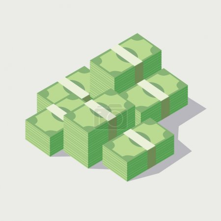 Money stacked, piles of green banknotes...