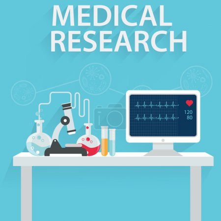 Illustration for Flat health care and medical research background. Healthcare system concept. Medicine and chemical engineering - Royalty Free Image