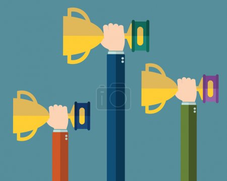 Illustration for Hands holding winners trophy award - Royalty Free Image