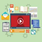 E-learning concept in flat style