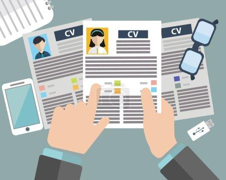 Ilustración de Concepto de entrevista de trabajo con curriculum cv empresas - Imagen libre de derechos