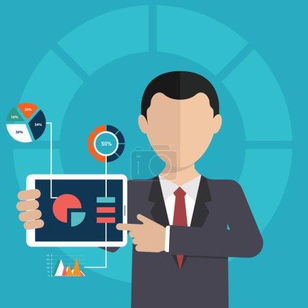 Illustration pour Homme d'affaires pointant vers le graphique et la présentation - image libre de droit