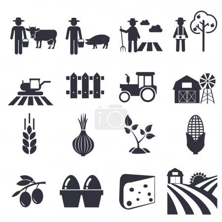 Illustration for Agriculture vector icons set - Royalty Free Image