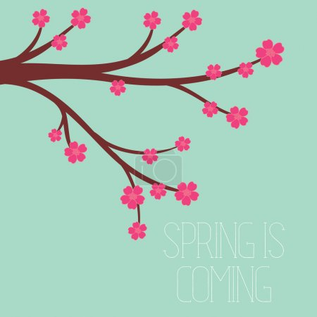Illustration for Vector illustration of a spring season in flat style - cherry blossoms - Royalty Free Image