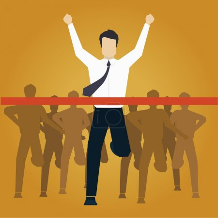 Illustration for Running Businessman Crossing Finish Line Vector Illustration - Royalty Free Image