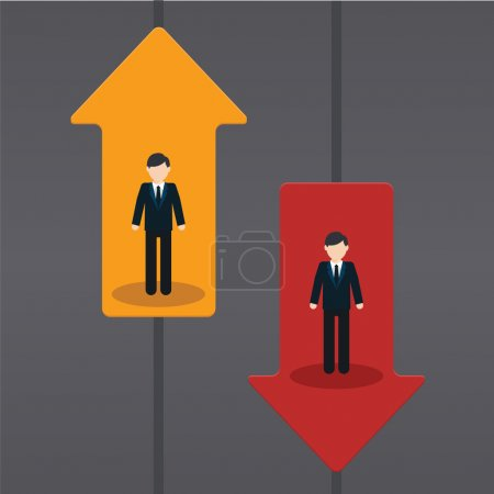 Raise and fall of business indicators. Career lift...