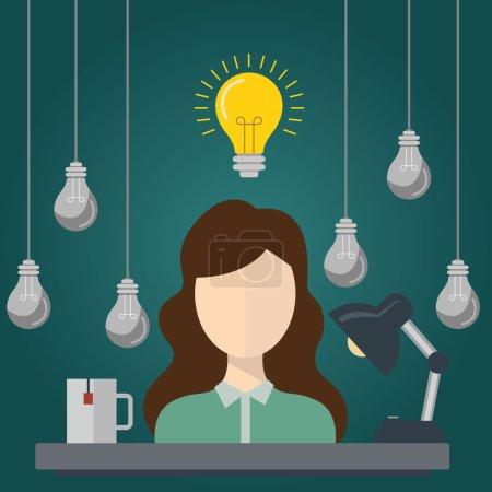 Illustration pour Femme d'affaires avec des idées. . Femme d'affaires avec ampoule au-dessus de sa tête - image libre de droit