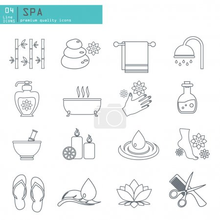 Illustration for Spa and Beauty outline web icon set - Royalty Free Image