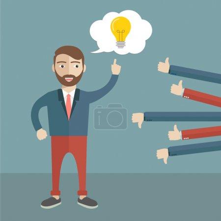Illustration pour Rétroaction des hommes d'affaires. J'aime et j'aime pas. Illustration vectorielle plate - image libre de droit