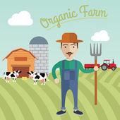 Farmer working in the farm Organic farm concept