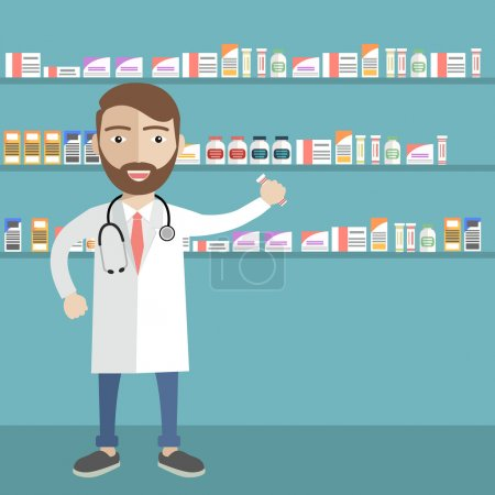 Illustration of a male pharmacist