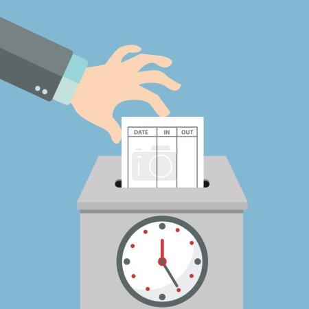 Illustration pour Mettre à la main la carte de papier dans la machine à enregistrer le temps. Illustration vectorielle de style plat - image libre de droit