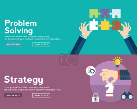 set of strategy and problem solving icons