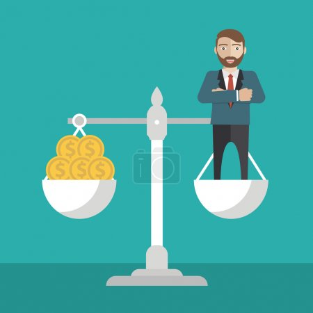 Businessman balance on scale with money, vector il...