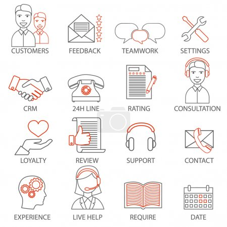 Icons related to support business management