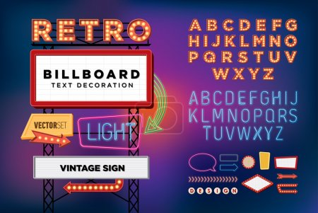 Illustration for Vector set Retro neon sign, vintage billboard, bright signboard, light banner - Royalty Free Image