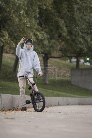 Bmx rider in concrete park