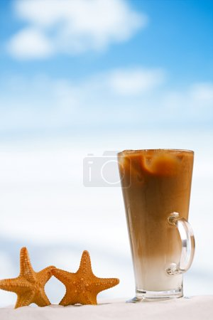 Iced coffee latte with starfish