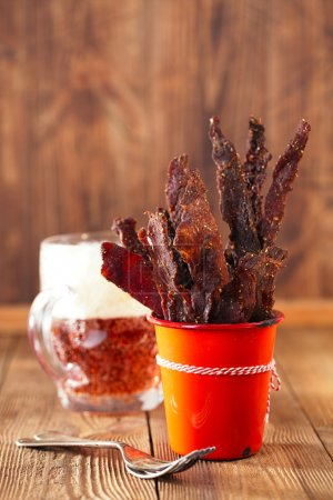 Jerky beef in orange dish