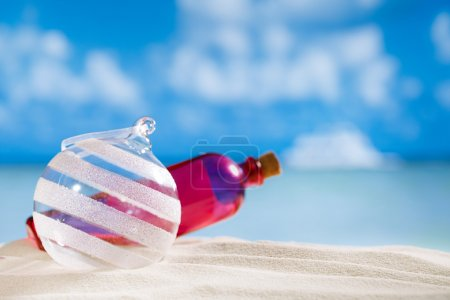 Glitter christmas glass ball and bottle