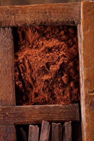 Cocoa powder in old spicy box
