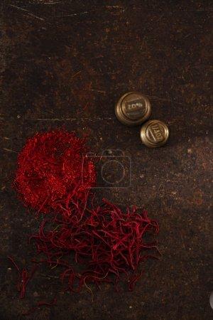 Saffron spice in pile threads
