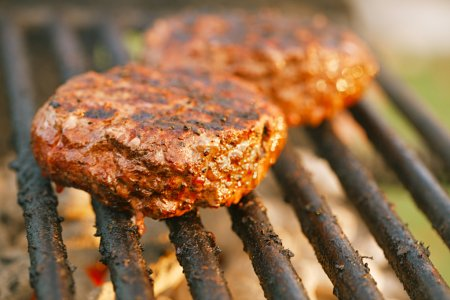 burgers on bbq barbecue grill