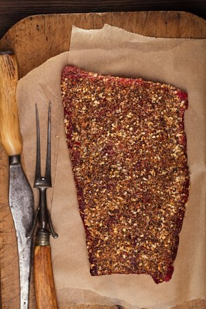 Spice rubbed raw beef fillet