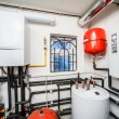 Interior household boiler with gas and electric bo...