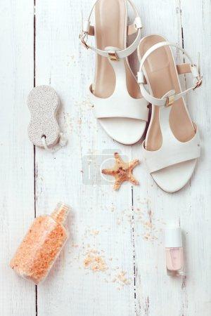 Summer women's accessories - sandals, bath salt, pumice stone and