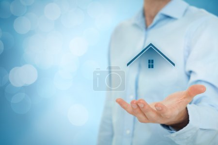 Photo for Real estate agent offer house. Property insurance, mortgage and real estate services concept - Royalty Free Image