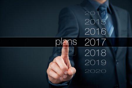 Businessman planning year 2017