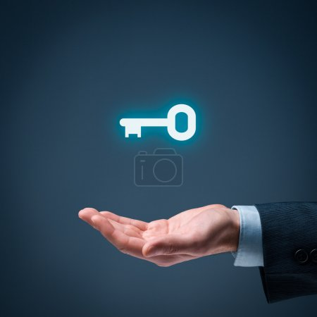 Photo for Businessman offer key to success. Turnkey solution and services concept - Royalty Free Image
