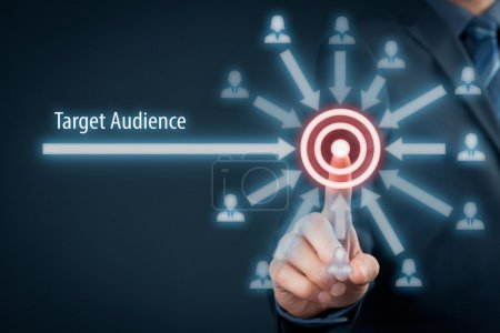 Photo for Target audience concept. Businessman clicks on target, audience pointing to target is around target - Royalty Free Image