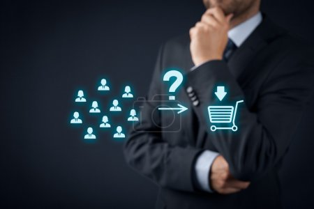 Photo for Consumer behavior analysis concept. Businessman analyzes if customers will buy product - Royalty Free Image
